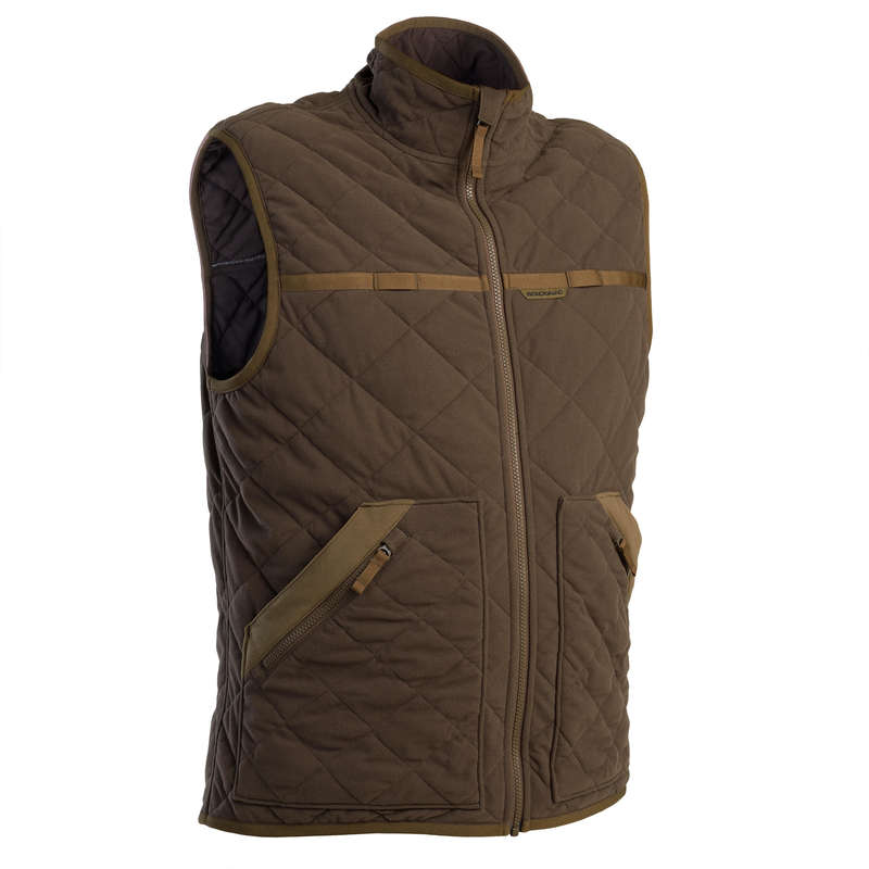 FLEECES/PADDED JACKETS Shooting and Hunting - 500 quilted vest brown. SOLOGNAC - Hunting and Shooting Clothing