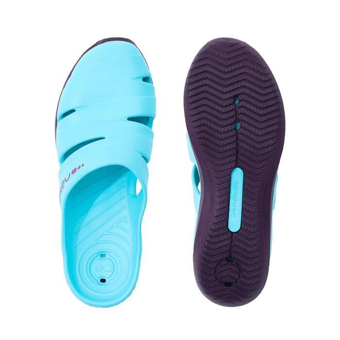 女款泳池拖鞋100 - 藍色紫色