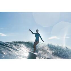 Bañador Camiseta Manga Larga Surf Olaian Dan Mujer Cremallera Espalda Negro Flor