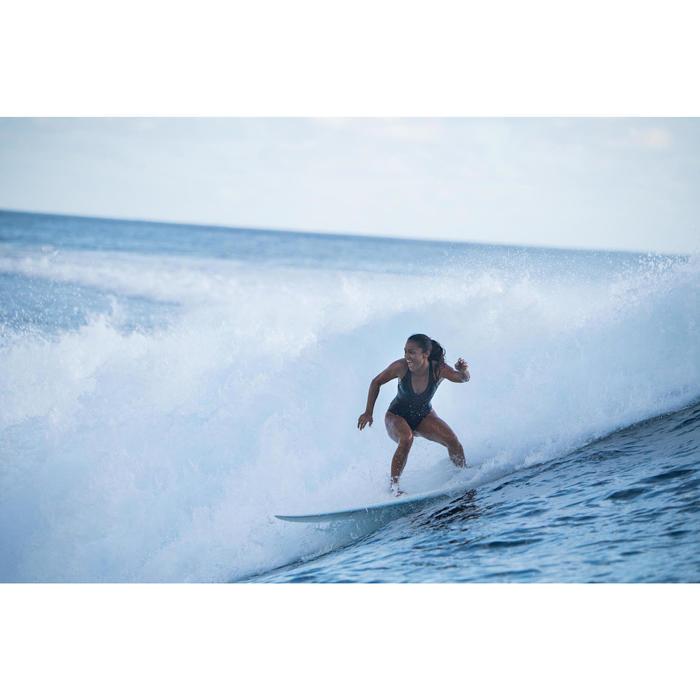 Bañador Deportivo Surf Olaian Isa Mujer Espalda X Efecto Transparencias Negro
