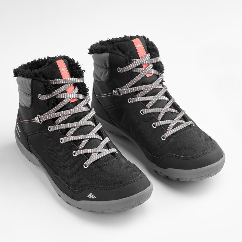 Crne tople ženske srednje visoke cipele za sneg SH100