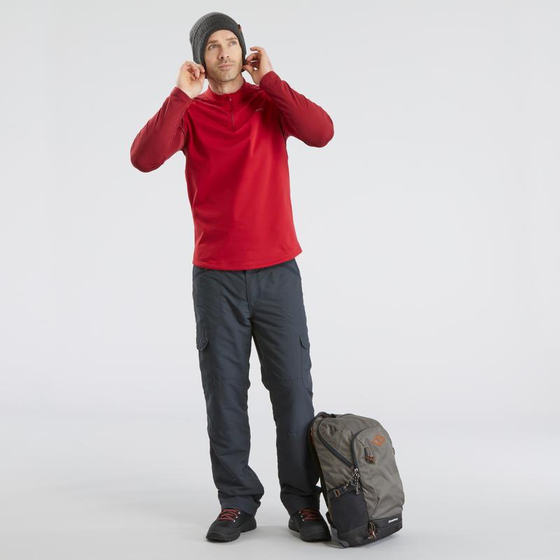 Camiseta de manga larga de senderismo nieve hombre SH100 warm rojo.
