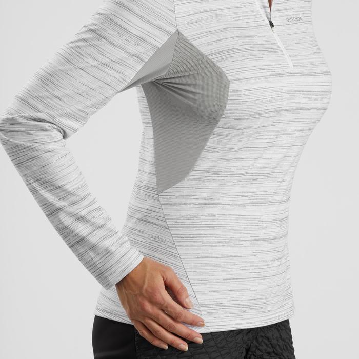 Tee-shirt de randonnée neige manches longues femme SH500 warm blanc