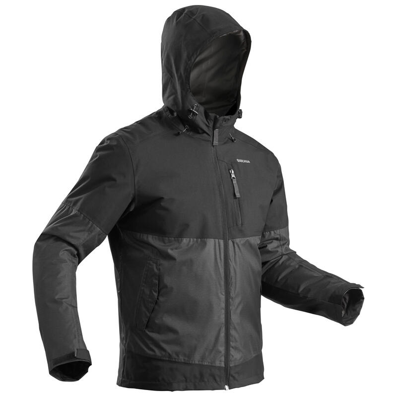 Abrigo Chaqueta de Montaña y Senderismo Nieve Hombre Quechua SH100 Negro Gris