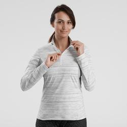Dames T-shirt met lange mouwen voor wandelen in de sneeuw SH500 warm wit