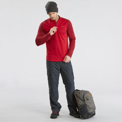 Men's Warm Long-Sleeved Snow Hiking Shirt SH100 - Black.
