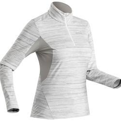 女款雪地健行保暖長袖T恤SH500-白色