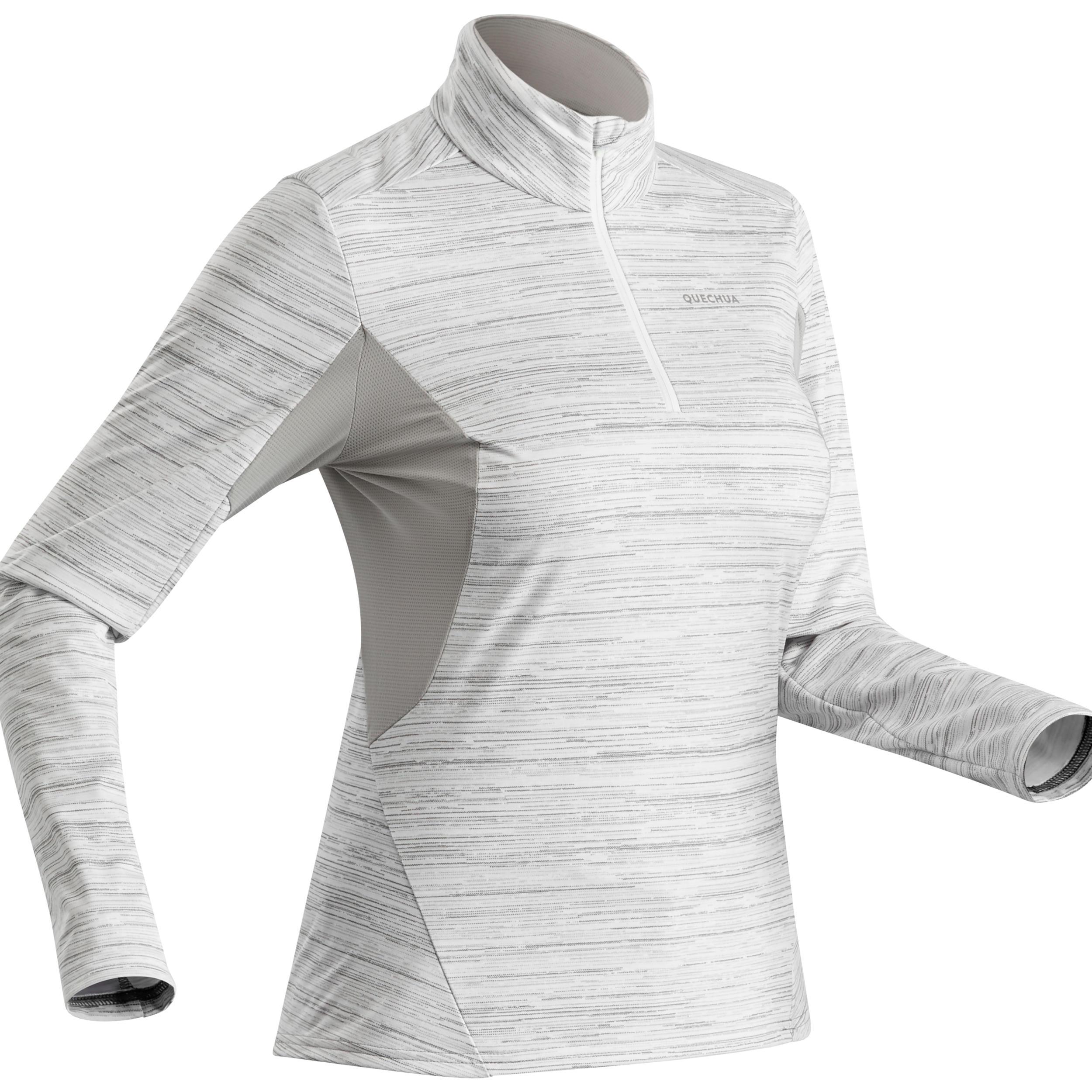 Tee shirt de randonnée neige manches longues femme sh500 warm blanc quechua