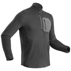 男款雪地健行保暖長袖T恤-黑色