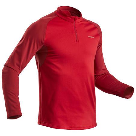 Men's Warm Long-Sleeved Snow Hiking Shirt SH100 - Red.