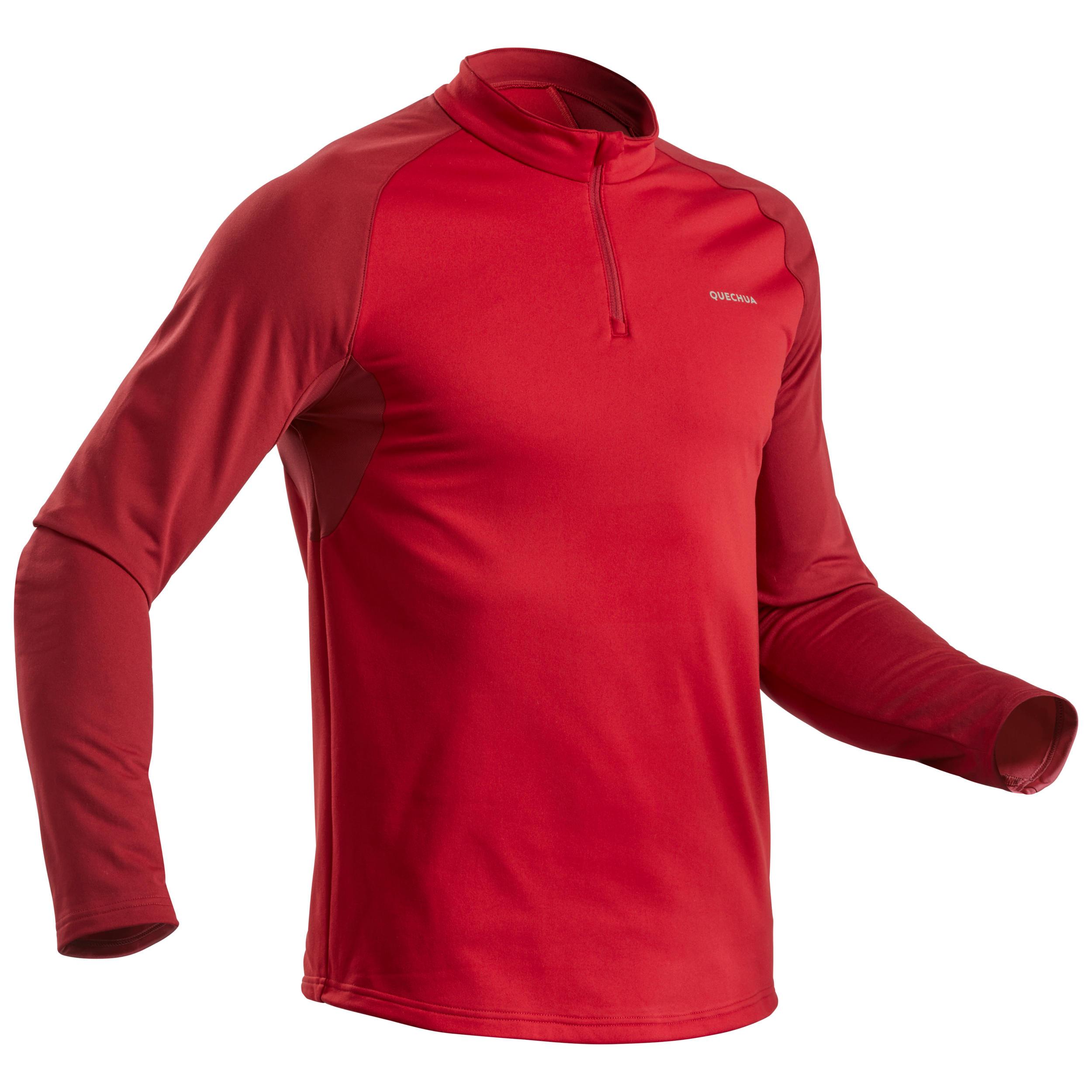 Tee shirt de randonnée neige homme manches longue sh100 warm rouge. quechua
