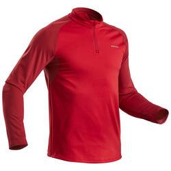 Tee-Shirt de randonnée neige manches longues homme SH100 warm rouge.