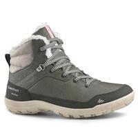 Chaussures de randonnée neige femme SH100 chaude mi-hauteur kaki