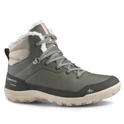 Warme waterdichte wandelschoenen voor de sneeuw dames SH100 Warm mid kaki
