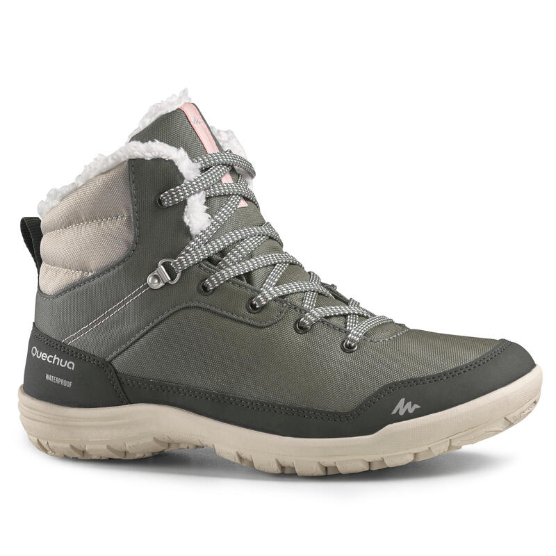 Warme en waterdichte wandelschoenen voor dames SH100 halfhoog