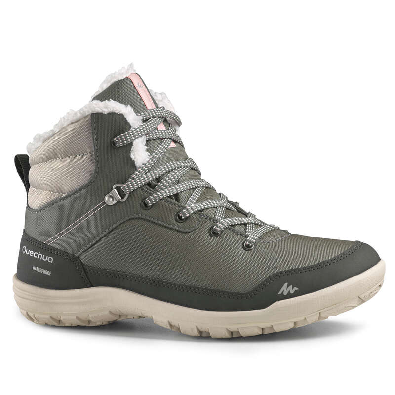 WOMEN SNOW HIKING WARM SHOES Hiking - W Warm Mid Shoes SH100 - Khaki QUECHUA - Outdoor Shoes