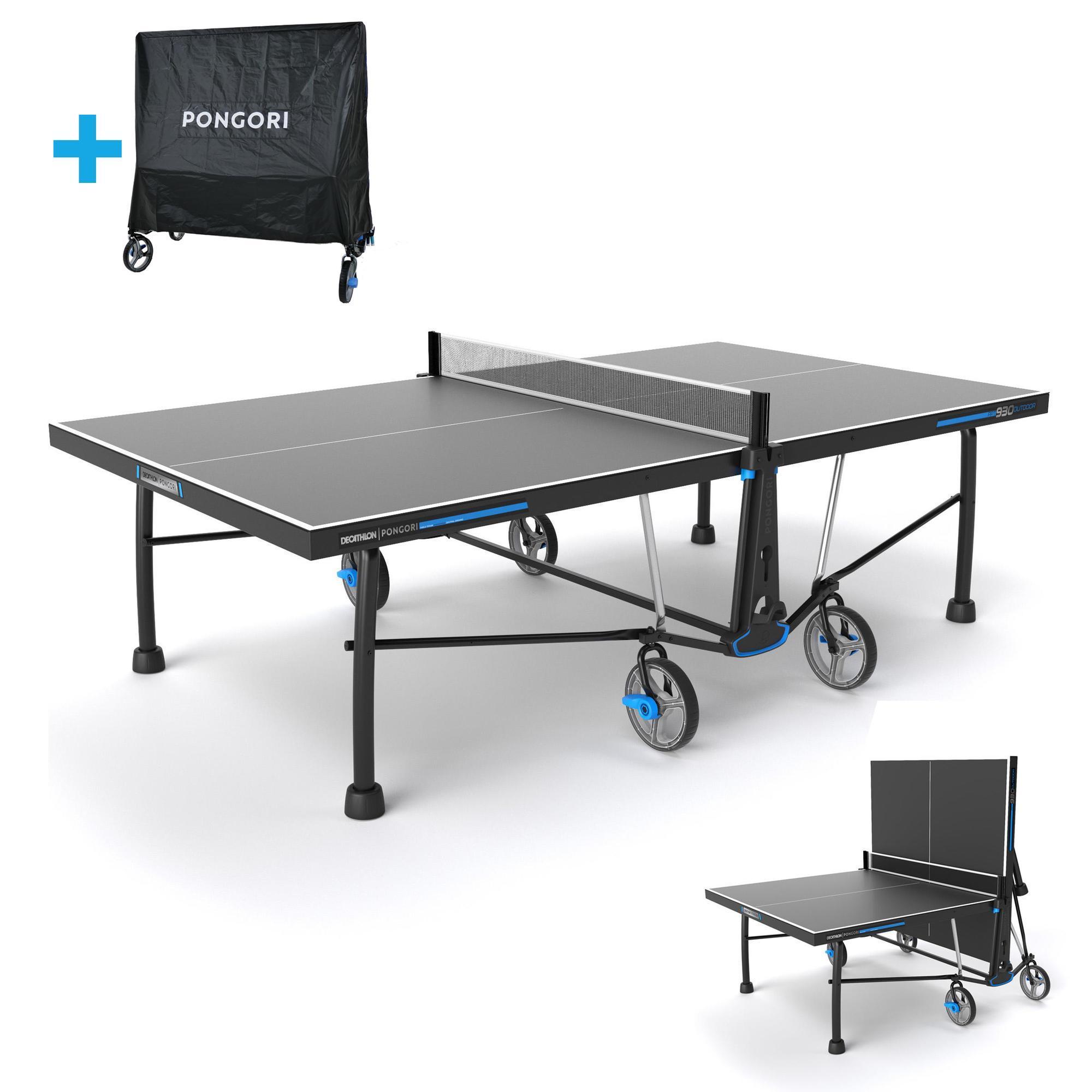 Pongori Tafeltennistafel / pingpongtafel outdoor PPT 930 grijs met gratis beschermhoes