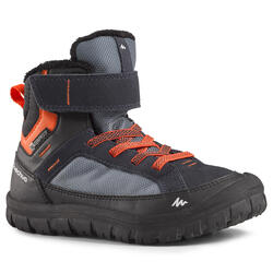 兒童款保暖魔鬼氈雪地健行中筒靴SH500-藍色