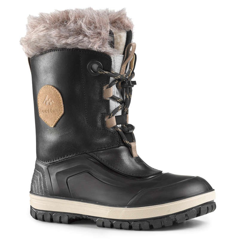 CHILDREN SNOW HIKING WARM SHOES & BOOTS Hiking - BTS SH500 X-WARM LEATHER - BLK QUECHUA - Outdoor Shoes