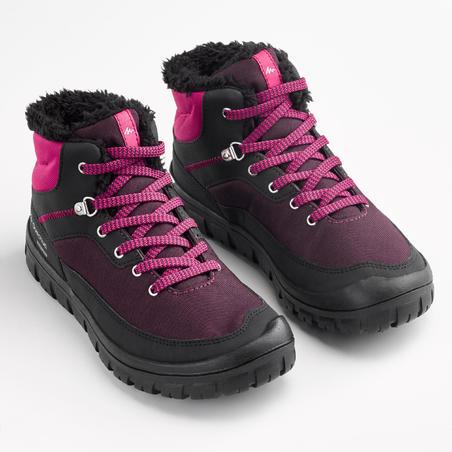 Chaussures chaudes de randonnée neige enfant SH100 chaudes lacet mi-haute noires
