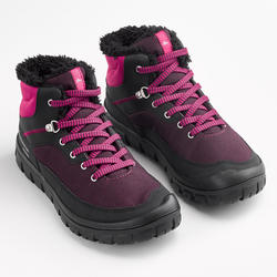 SH100 Warm Junior Lace-Up Mid-Height Snow Hiking Boots - Pink