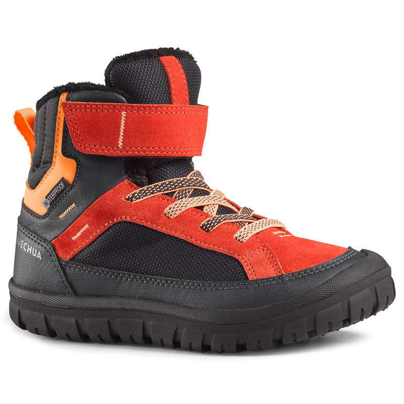 CHILDREN SNOW HIKING WARM SHOES & BOOTS Hiking - SH500 JR WARM RIPTAB BOOTS-RED QUECHUA - Outdoor Shoes