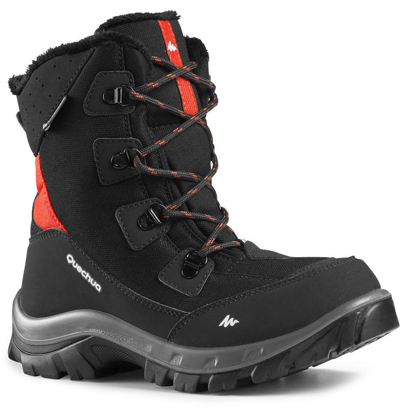 BOTTES chaudes de randonnée neige enfant SH500 chaudes hautes noir