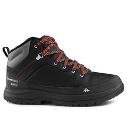男款雪地健行保暖中筒鞋SH500-黑色。