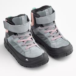 Kids Winter Hiking Warm Shoes SH500 Warm Hook & Loop Mid - Light Blue
