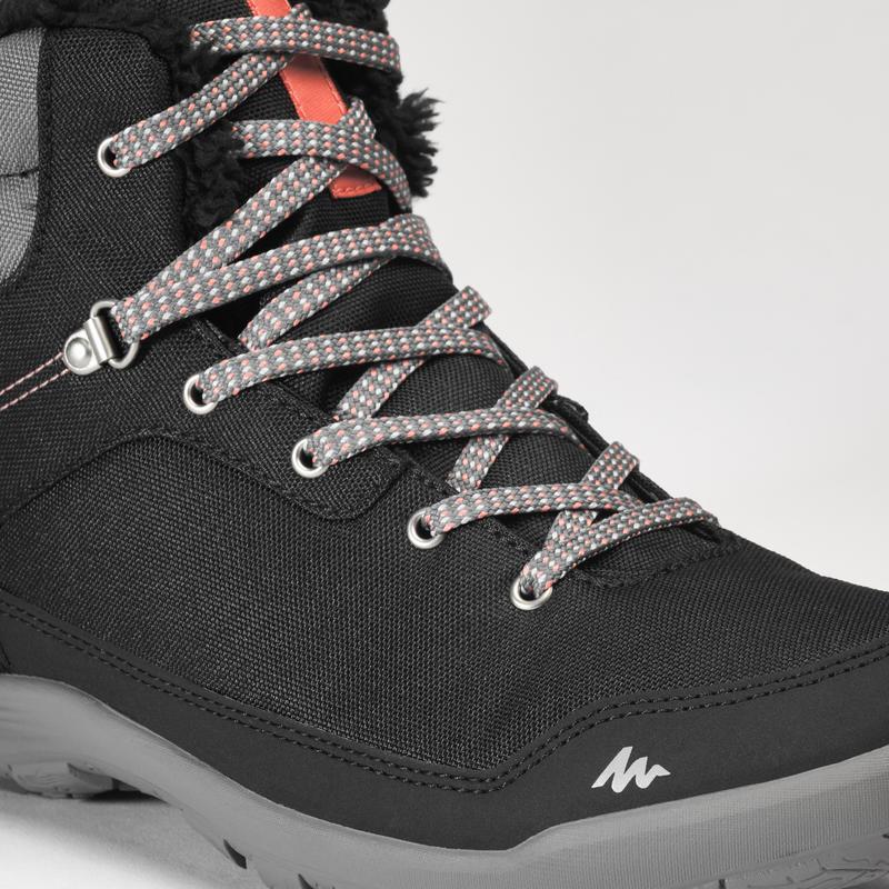 Women's warm mid snow hiking boots SH100 - black