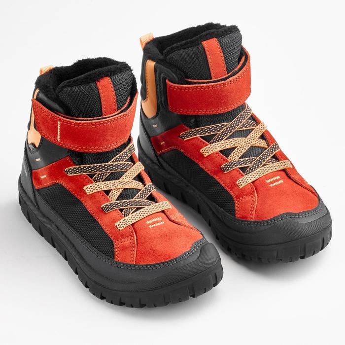 Warme wandelschoenen voor de sneeuw kinderen SH500 Warm klittenband mid rood