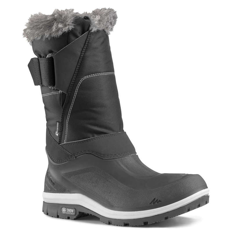 WOMEN SNOW HIKING WARM BOOTS Hiking - W SH500 X-WARM BLACK BOOTS QUECHUA - Outdoor Shoes