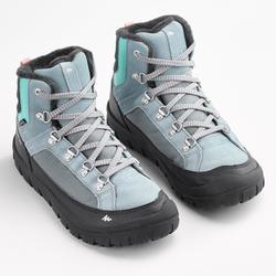 Warme wandelschoenen voor de sneeuw kinderen SH500 Warm veters mid ijsblauw
