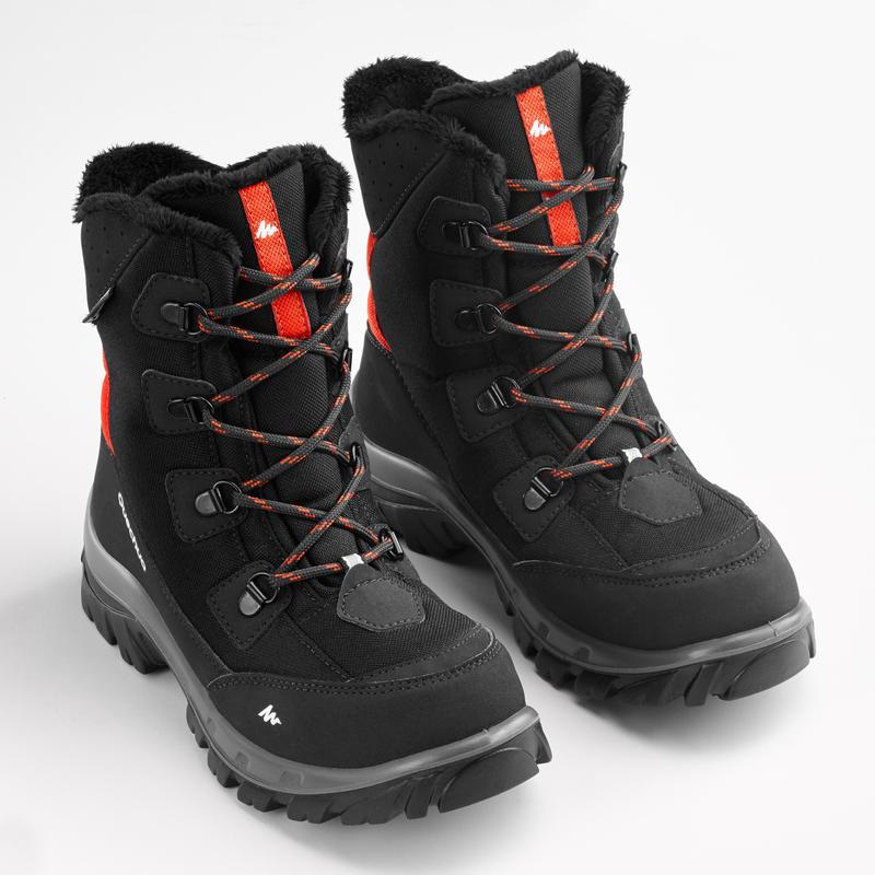 SH500 Warm Kids' Waterproof Walking Boots - Black