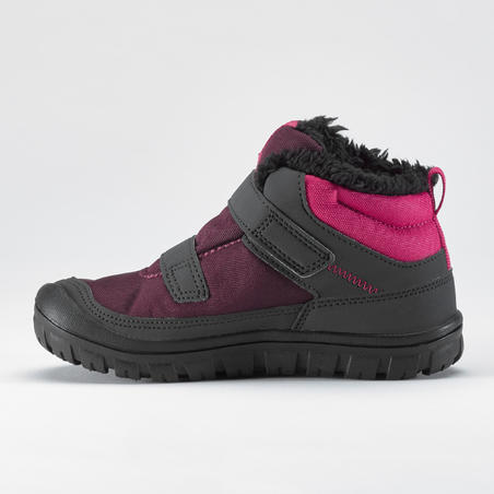 Children's Warm Velcro Snow Hiking Boots SH100 Warm Mid - Pink