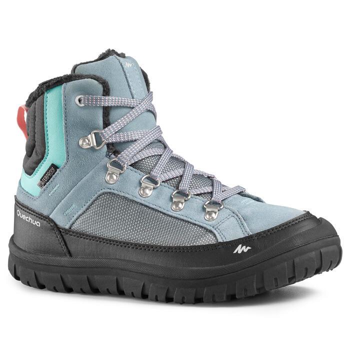 Chaussures chaudes de randonnée neige enfant SH500 warm lacet mid ice