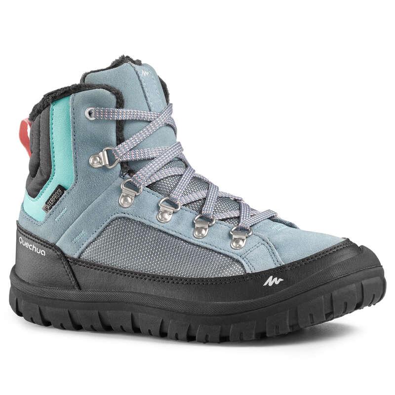 DOPOSCI E SCARPE INVERNALI BAMBINI Sport di Montagna - Scarpe bambina SH 500 WARM MID lacci grigie QUECHUA - Scarpe e accessori trekking