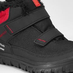 Botas de senderismo nieve júnior SH100 warm tira autoadherente media caña negro