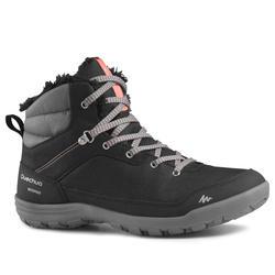 女款保暖雪地健行中筒靴SH100-黑色