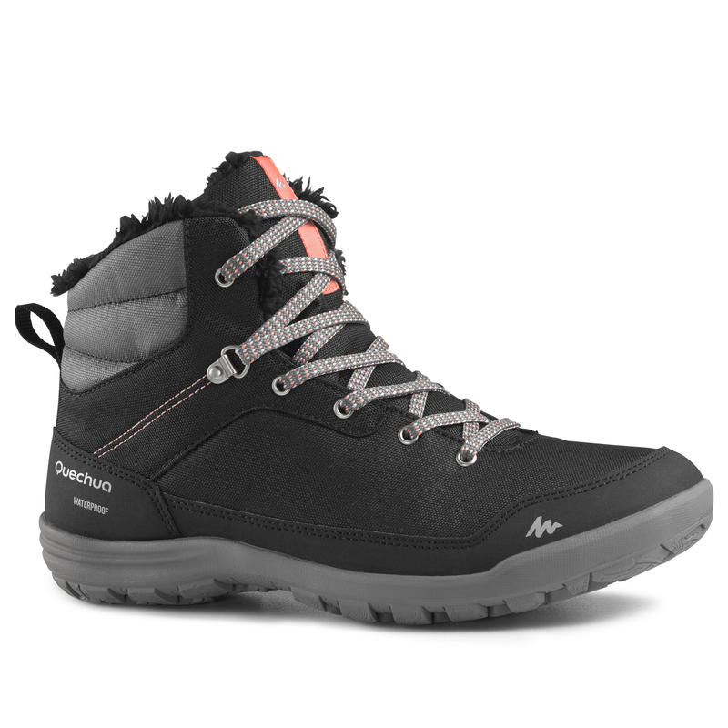 รองเท้าหุ้มข้อผู้หญิงสำหรับเดินป่าท่ามกลางหิมะที่มีคุณสมบัติกันหนาวและกันน้ำรุ่น SH100 WARM (สีดำ)