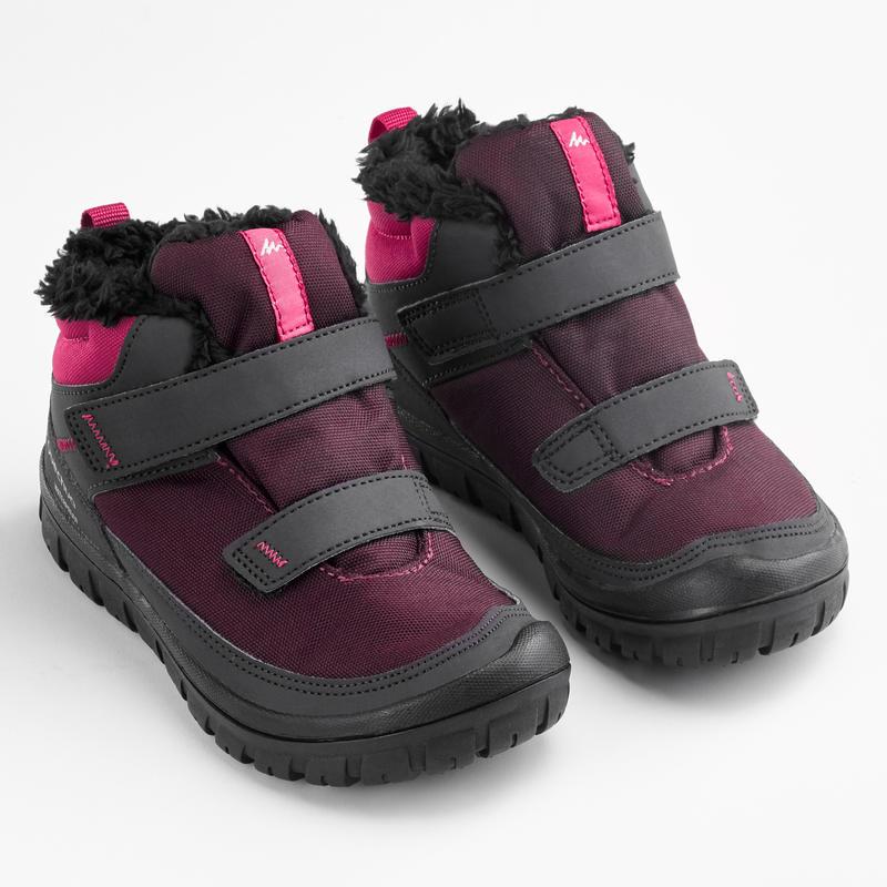 Botas de senderismo nieve niños SH100 warm tira autoadherente media caña rosa