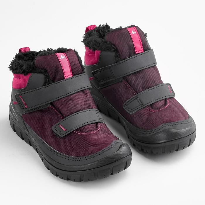 Botas de senderismo nieve júnior SH100 warm tira autoadherente media caña rosa