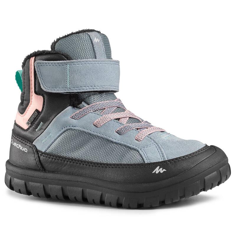 DĚTSKÉ BOTY NA ZIMNÍ TURISTIKU Turistika - BOTY NA SUCHÝ ZIP SH 500 WARM QUECHUA - Turistická obuv