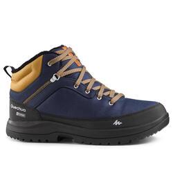 男款雪地健行保暖中筒鞋SH100-藍色。
