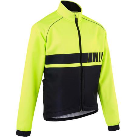 500 Kids' Cycling Jacket - Black/Yellow