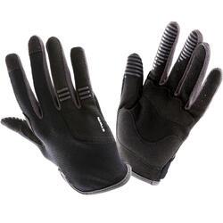 Lange fietshandschoenen voor kinderen zwart/grijs