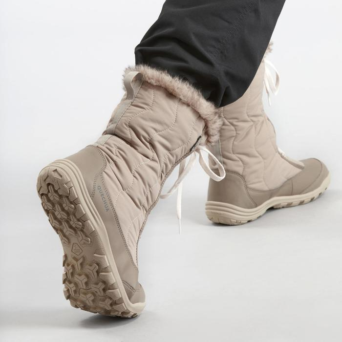 Wandellaarzen voor de sneeuw dames SH500 X-warm veters beige
