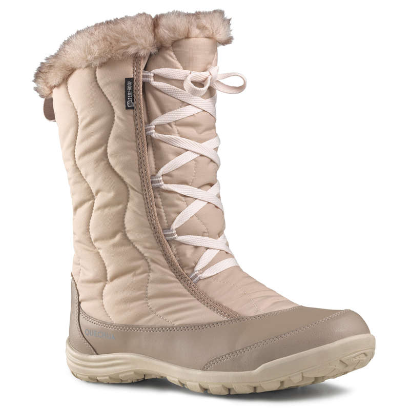 WOMEN SNOW HIKING WARM BOOTS Hiking - X WARM LACES SH500 - BEIGE QUECHUA - Outdoor Shoes
