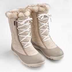 女款超保暖鞋帶式健行靴SH500-米色