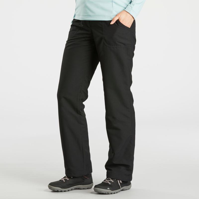 Pantalón cálido de senderismo mujer SH100 ultra-warm negro